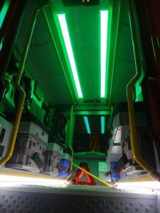 Grüne Innenbeleuchtung Mannschaftskabine  mit Fussbodenbeleuchtung
